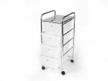 Koupelnový regál zásuvkový bílý 4 patrový na kolečkách 33x39x80