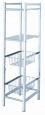 Koupelnový regál kombinovaný (2 skleněné police + 2 pochromované košíky) 4 patrový úzký 30x25x90 cm šířka jen 25 cm