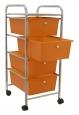Koupelnový regál zásuvkový oranžový 4 patrový na kolečkách 33x39x80