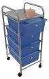 Koupelnový regál zásuvkový modrý 4 patrový na kolečkách 33x39x80