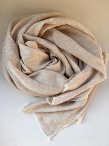 Kašmírový šál s hedvábím béžový
