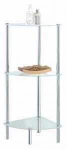 Koupelnový regál rohový policový 3 patrový se skleněnými policem 32x32x75 cm