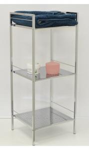 Koupelnový regál policový 3 patrový s pochromovanými policemi 30x35x85 cm