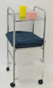 Koupelnový regál kombinovaný 4 patrový (2 police+2zásuvky) na kolečkách 33x39x80