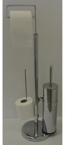Stojan na WC papír s WC kartáčem a se zásobníkem na toaletní papír